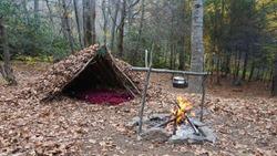 Survival Shelter Debris hut in the wilderness. Bushcraft camp setup in the forest.