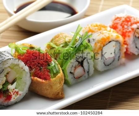 Sushi Assortment On White Dish, close up