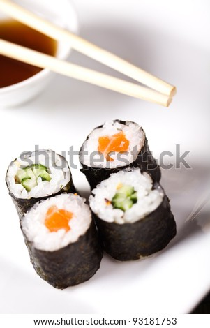 sushi rolls on white plate with chopsticks