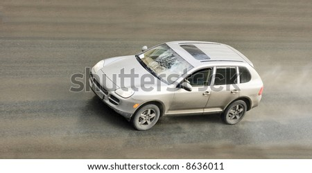 """Suv Car Drives Through Rain And Dirt of my """"cars and suv's"""" series"""
