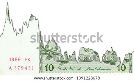 10 swedish krona bank note decline graph indicating exchange rate with copyspace #1391228678
