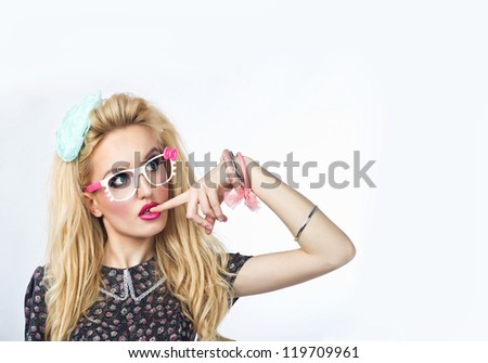 Sweet sexy lady with glasses.