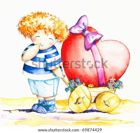 Sweet,shy boy pulling his wagon with big heart.Picture I have created with watercolors.