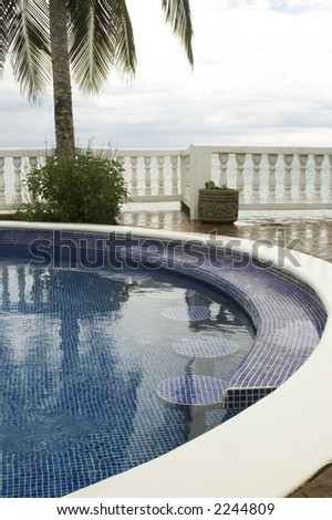 Swimming Pool Built In Bar Seats Table Caribbean Sea Nicaragua Resort Stock Photo 2244809