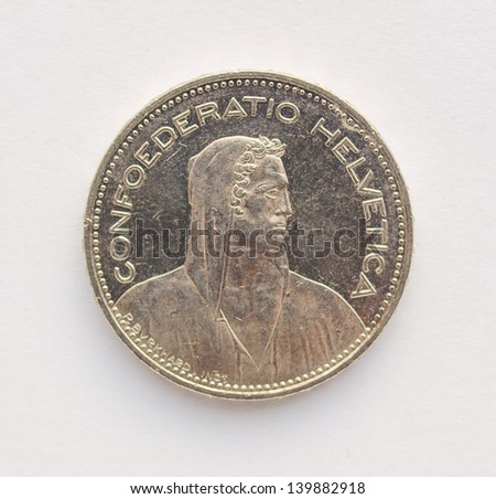 5 Swiss franc CHF (legal tender of Switzerland - Confederation Helvetique) coin