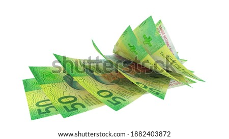 50 Swiss franc 2015, random fan banknotes, perspective view - High resolution 3d render Isolated on white background