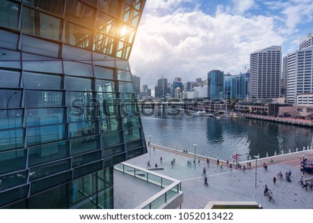 Sydney Darling Harbour, Cityscape in the Evening, with the City Skyline in the Background