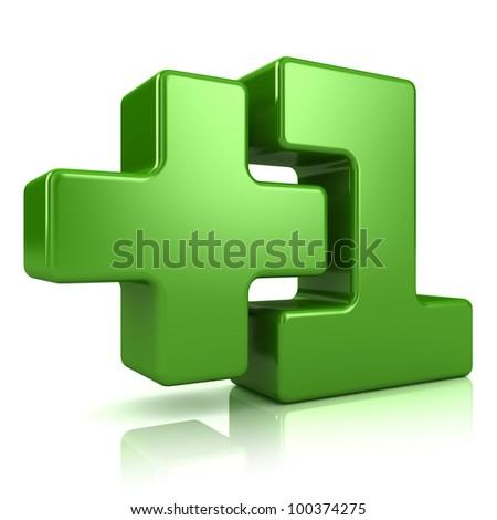 """+1"" symbol on white background. 3d render"