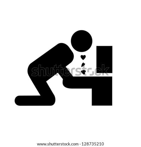 Symbolistic icon vomiting because of love. Raster version