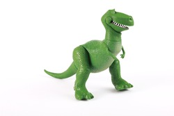 T-Rex toy dinosaur, baby toy, isolated on white background, design element, children's postcard
