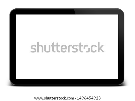 tablet in ipad style black color with blank touch screen isolated on white background