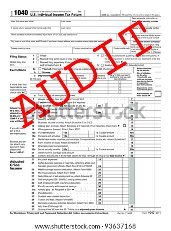 1040 Tax Form with caption AUDIT
