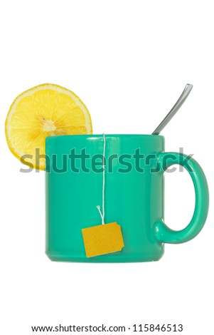 Teacup with a lemon slice, isolated  on white background