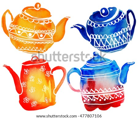 Teapots watercolor