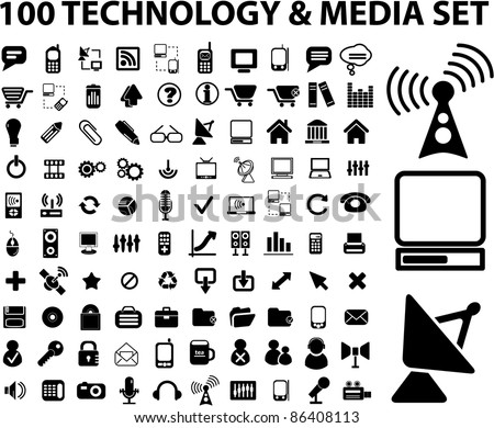 100 technology & media icons, signs, vector set - stock photo