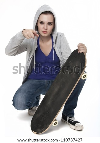 teenager girl with skateboard