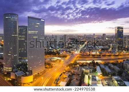Tel Aviv city - View of Tel Aviv at sunset Out of Window Stock fotó ©