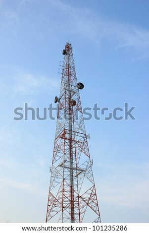 Telecom tower and blue sky - stock photo