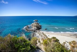 (telegraph tip) Punta del Telegrafo on the Tyrrhenian coast of Ascea Marina with the Mediterranean scrub. Cilento, Salerno, Campania, Italy