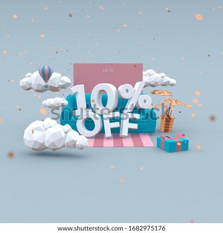 10 Ten percent off 3d-illustration in cartoon style. Sale concept. ストックフォト ©