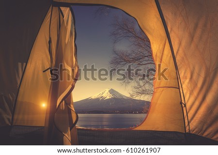 Tent with a view of fuji mountain, camping at mountain fuji, Japan #610261907