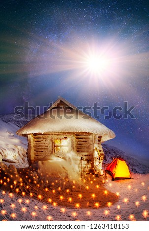 Tents and shelter Located on the slopes of the highest mountain of Ukraine Hoverla. Night winter ascent on the Montenegrin ridge-captivating and dangerous, concealing the romance and fantasy, a real  #1263418153