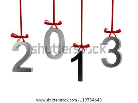 2013 text - 3d render on white - stock photo