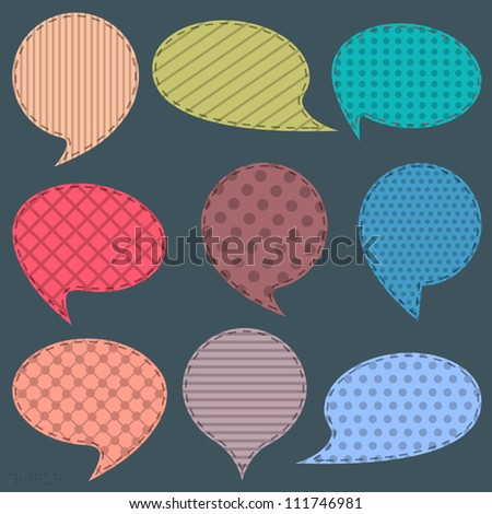 Textile speech bubbles. Raster version