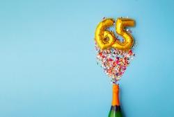 65th anniversary champagne bottle balloon pop