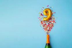 9th anniversary champagne bottle balloon pop