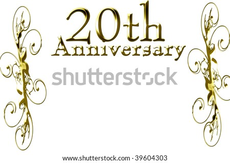 20th anniversary on a solid white background