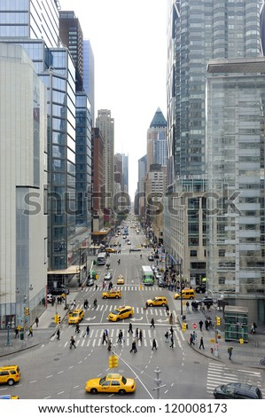 8th Ave seen from Columbus Statue at Columbus Circle in Manhattan, New York