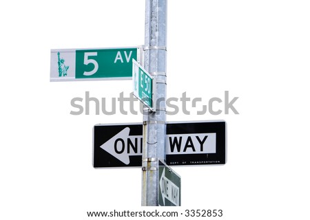 5th Avenue sign in New York isolated with clipping path
