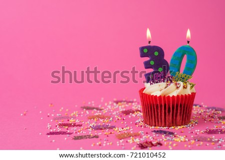 30th Birthday Cupcake Pink Background 721010452 Cake With Candles
