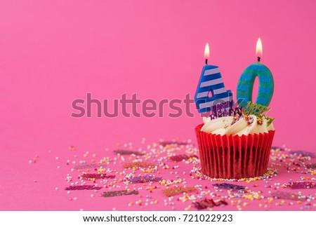 40th Birthday Cupcake Pink Background