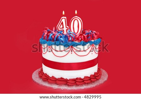 40th Cake With Numeral Candles On Vibrant Red Background 4829995