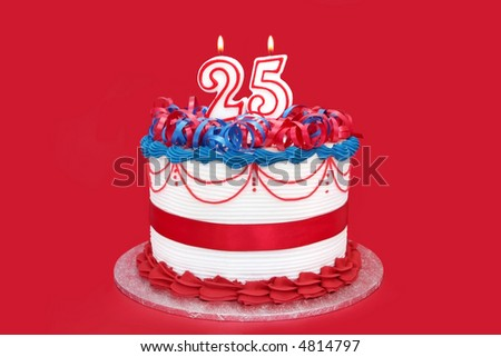 25th cake, with numeral candles, on vibrant red background.  Birthday, anniversary, etc. - stock photo
