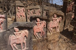 12th Century AD to 18th Century AD -  Hero Stones (Padiya) at Kanthkot Fort, Kutch.  Fort Build in 7th Century AD, now stand ruined due to 1819 and 2001 Massive earthquake