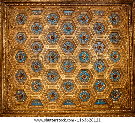 16th Century Beautiful Elaborate Blue and Golden Ceiling Decoration Pattern
