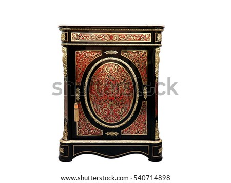19th century Boulle Cabinets French Sideboard inlay with red tortoise shell and brass #540714898