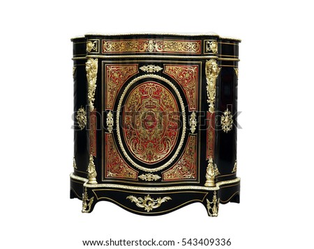 19th century Boulle Cabinets French Sideboard inlay with red tortoise shell and brass #543409336