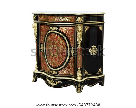 19th century Boulle Cabinets French Sideboard inlay with red tortoise shell and brass #543772438