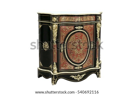19th century Boulle Credenzas Cabinets French Sideboard inlay with red tortoise shell and brass #540692116
