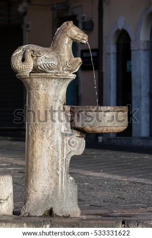 17th century fountain on the Piazza del Duomo in Taormina, Sicily, Italy #533331622