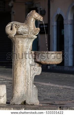 17th century fountain on the Piazza del Duomo in Taormina, Sicily, Italy #533331622