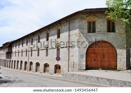 18th century historical Caravanserai in Sheki (Shaki) city of Azerbaijan Stok fotoğraf ©