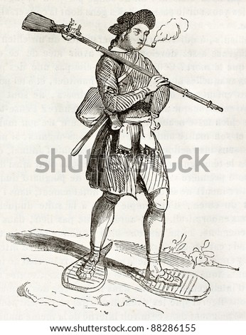 17th century Hudson bay settler, old illustration. By unidentified author, published on Magasin Pittoresque, Paris, 1844