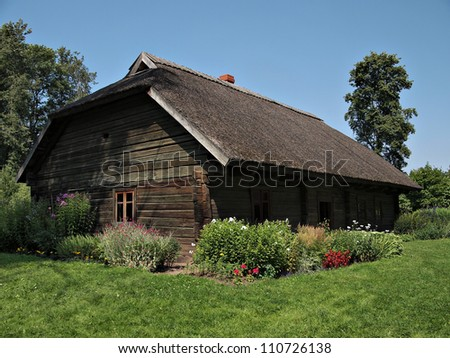Old Wooden Houses in the Latvian Village Images and Stock