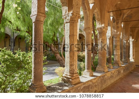 14th-century monastery cloister - Chiostro di San Francesco in Sorrento, Bay of Naples, Italy