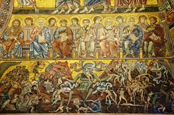 13th century mosaics illustrating the Last Judgment in baptistery  Florence, Italy